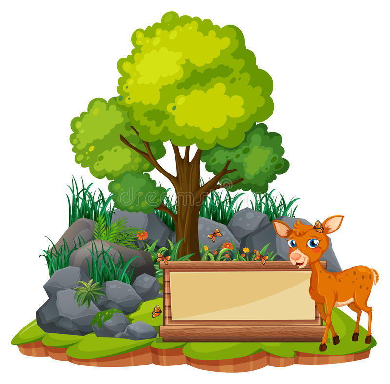 Banner template with little fawn royalty free illustration