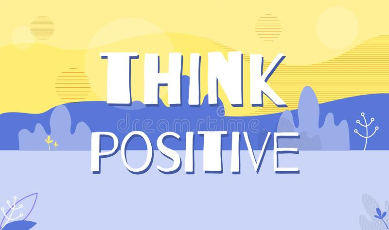 Think Positive Motivation Quote Banner Template stock illustration