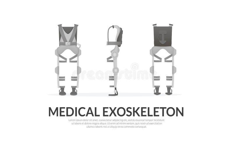 Banner template. Realistic medical exoskeleton. Exosuit. Front, back, side view. Vector. Banner template. Realistic medical exoskeleton. Exosuit. Front, back vector illustration