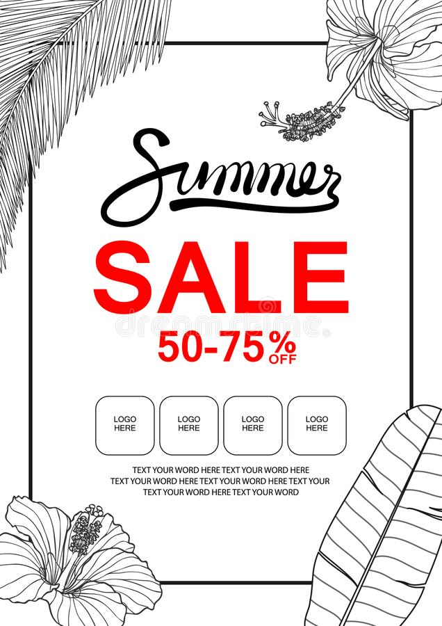 Banner Template For Summer Sale With Hibiscus, Banana Leaf And C ...