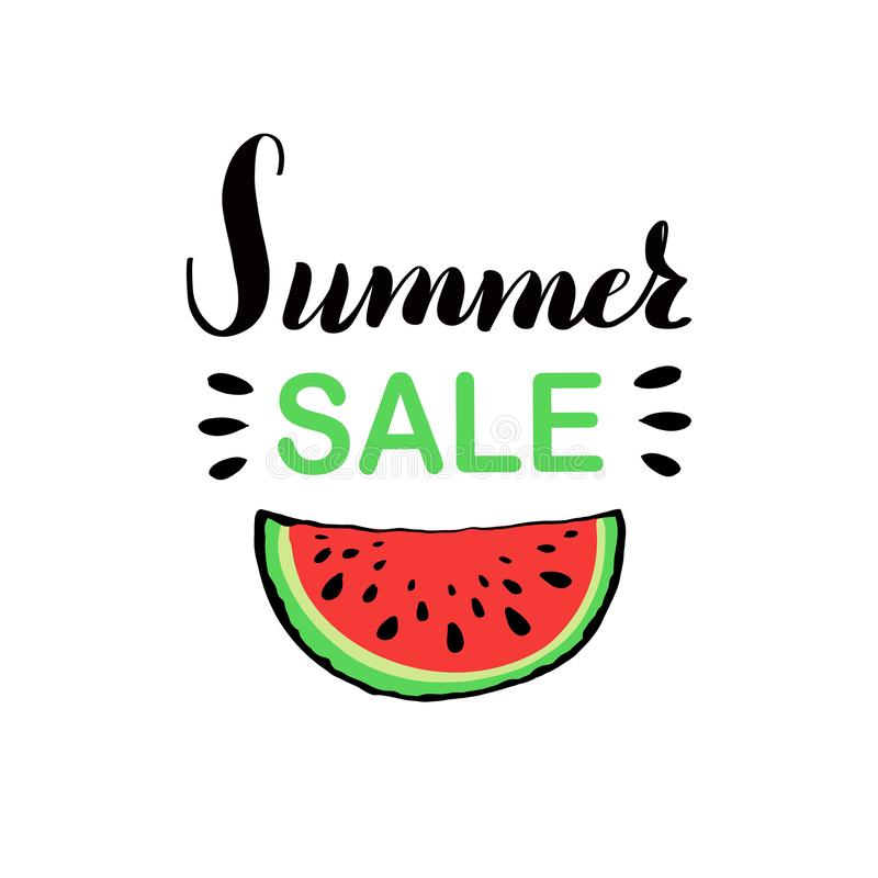 Banner template for summer sale with red juicy slice of tasty watermelon with seed. royalty free illustration