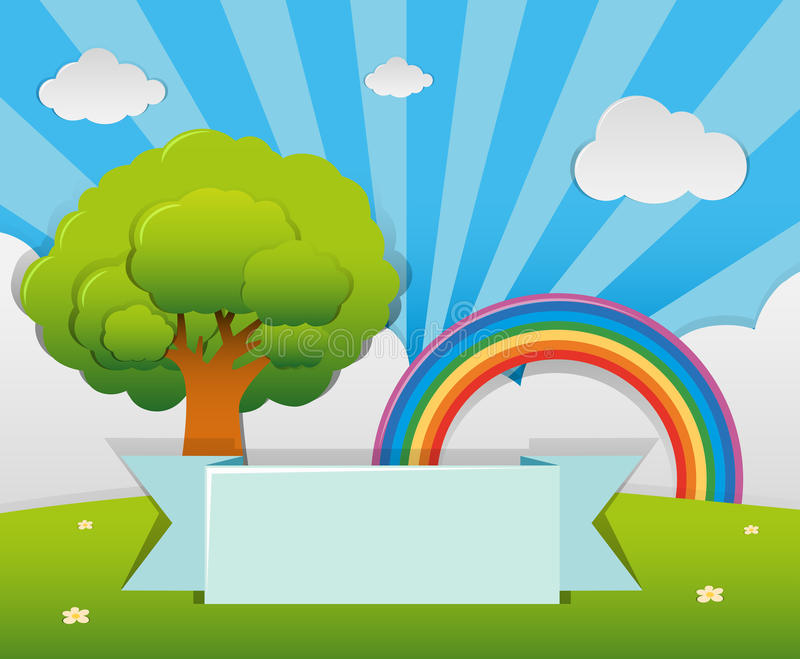 Banner template with tree and rainbow in garden royalty free illustration