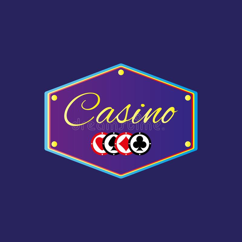 Banner with text Casino and chips. Vector illustration. stock illustration