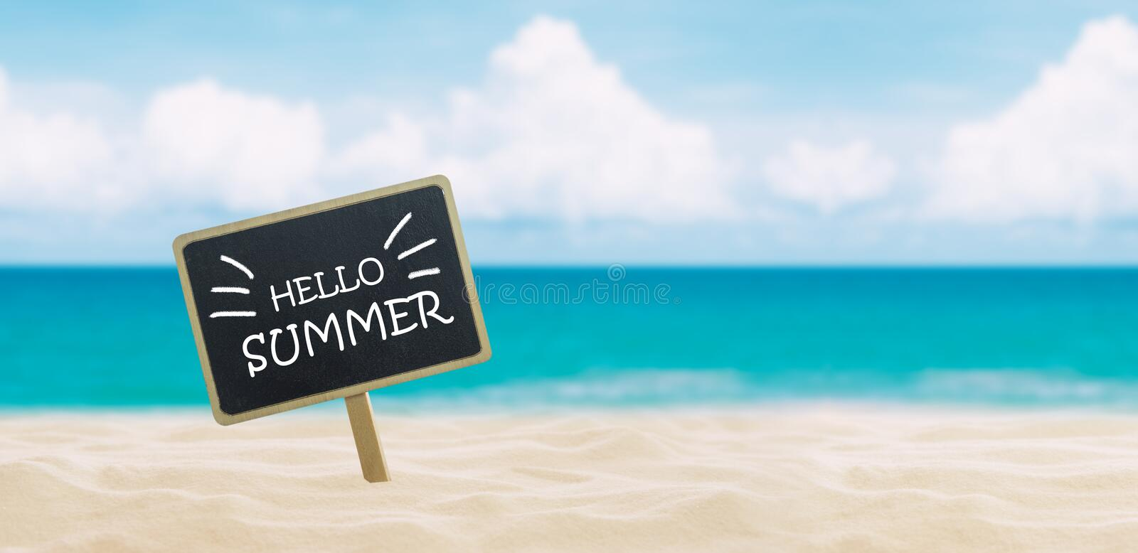 Banner with text Hello summer stock photography