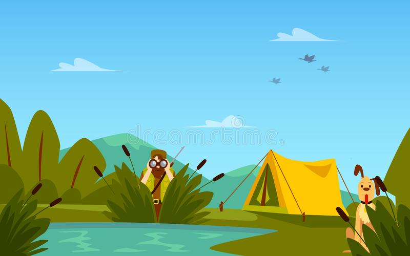 Banner with hunter men characters and tent flat vector illustration. Banner on the theme of hunting with hunter characters and tent flat vector illustration vector illustration
