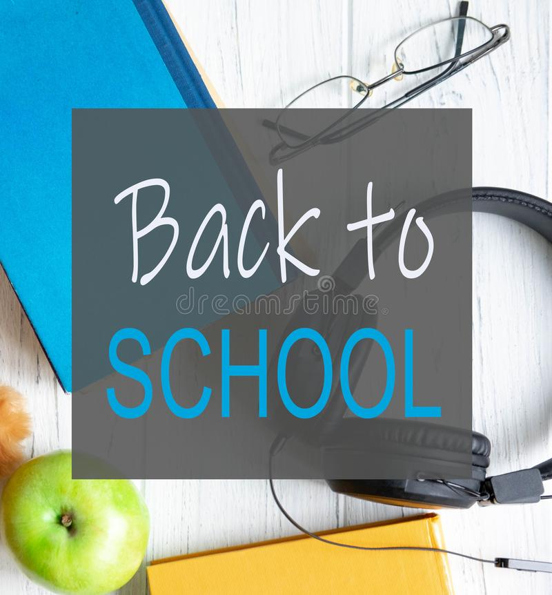 Banner on the theme of the school. Welcome back to school. Themed banner with educational supplies and books royalty free stock photos