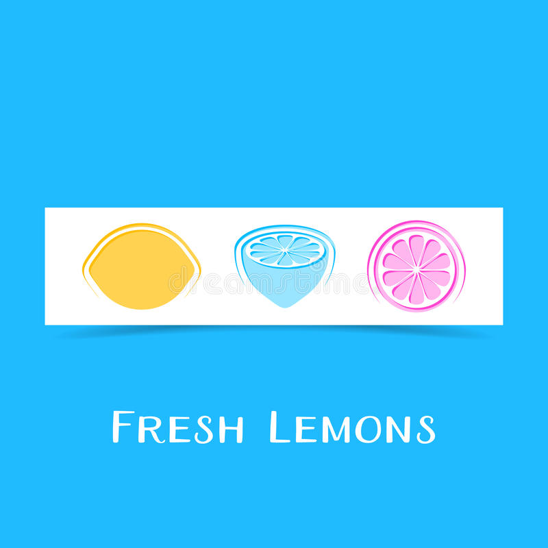 Banner with three abstract lemons. Creative banner with three abstract lemons royalty free illustration