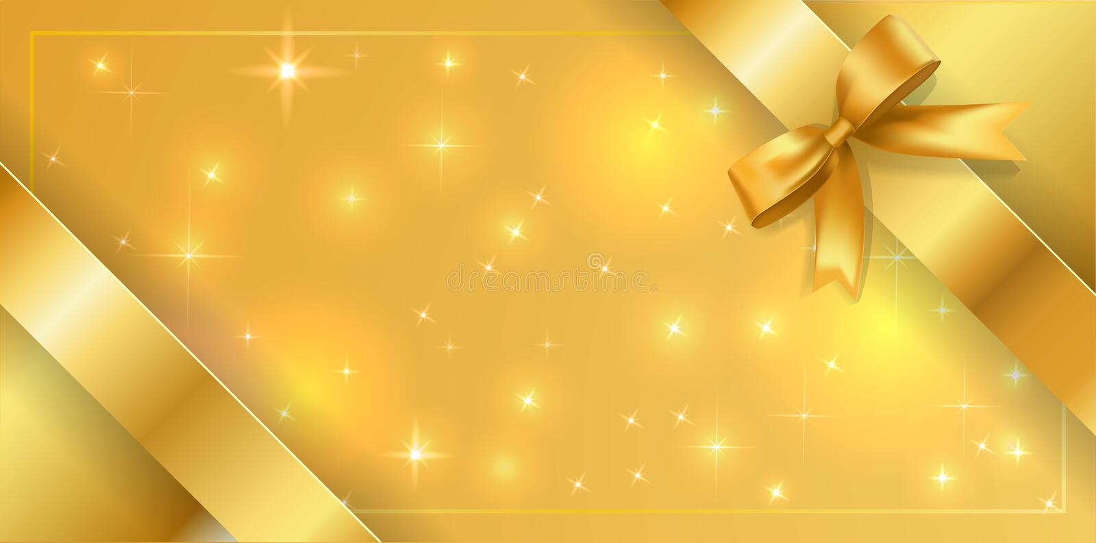 Banner tied with a gold ribbon around the edges diagonally. Golden stars background with bow decoration border. Vector volume mesh royalty free illustration