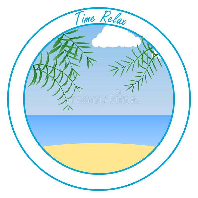 Banner Time of relaxation. Sea, sand, beach and palm trees against the blue sky. Rest on the sea. vector illustration