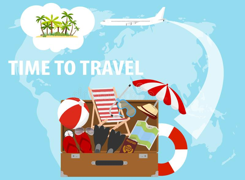 Banner time to travel, traveler`s set. Traveler`s suitcase with things. vector illustration