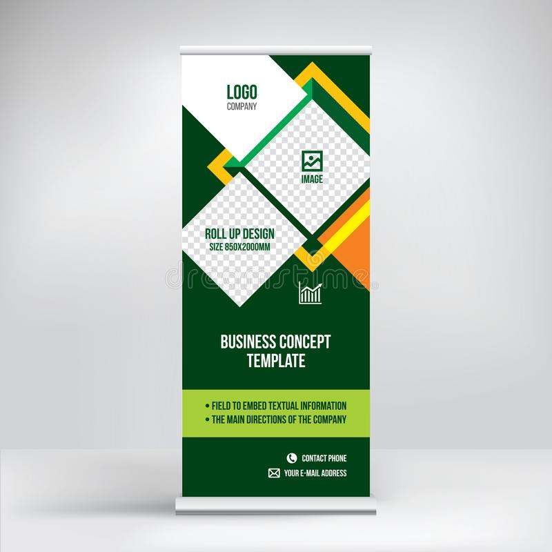 Roll-up advertising banner, creative template, stand design for exhibitions, presentations, seminars, business concept stock illustration