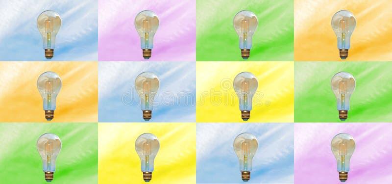 Banner or top poster, colourful lightbulbs stock illustration