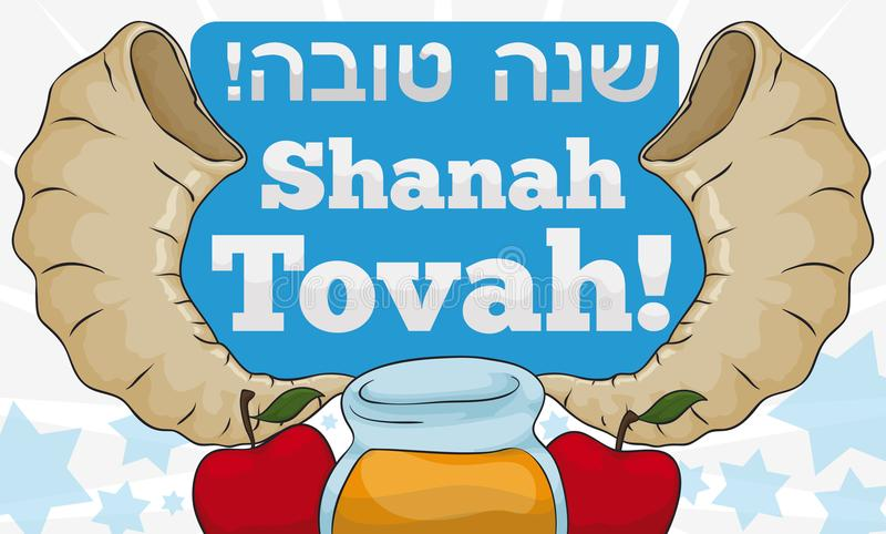 Shofar Horns, Greetings, Honey and Apples for Jewish New Year, Vector Illustration. Banner with traditional greeting -or `Shanah Tovah`, written in Hebrew vector illustration