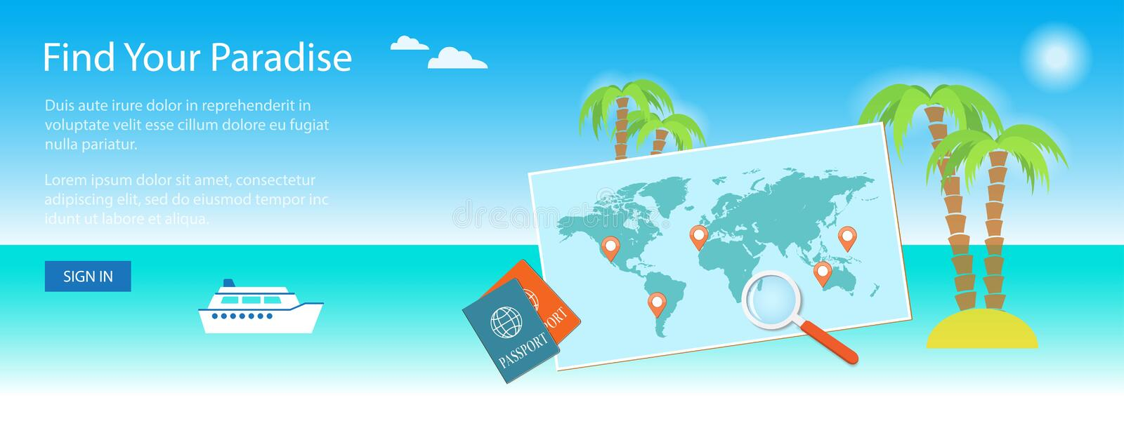 Banner for travel site. With map. Vector illustration, eps 10 stock illustration