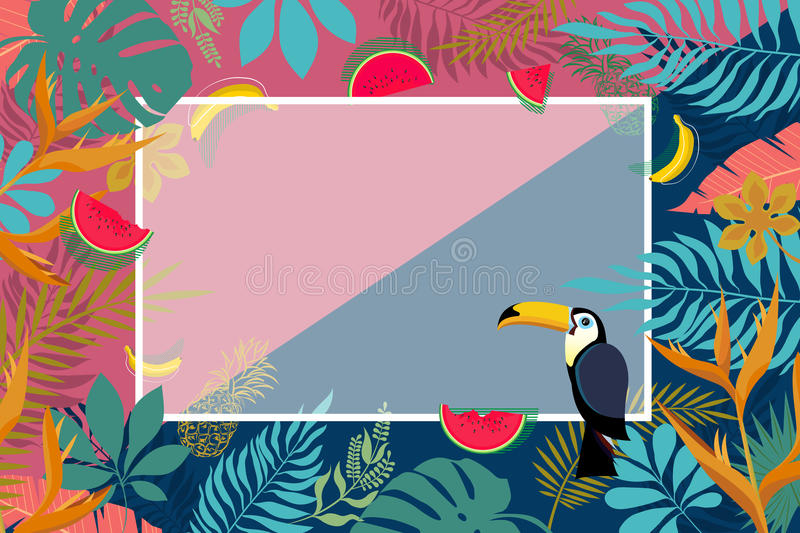 Banner of tropical palm leaves. stock images
