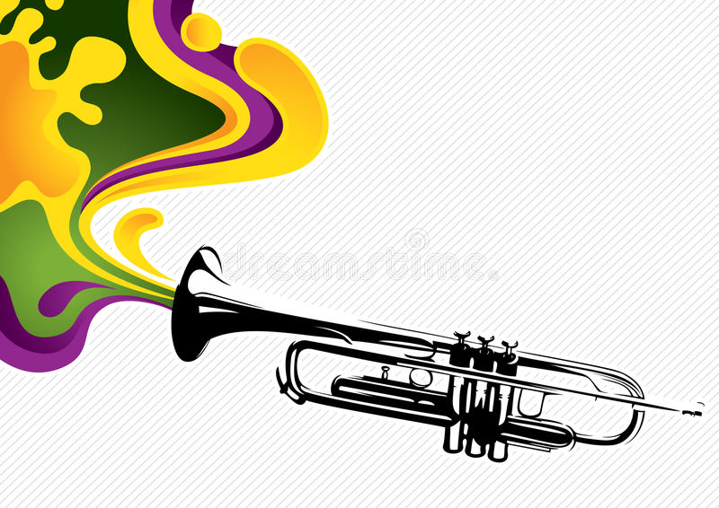 Banner with trumpet stock illustration