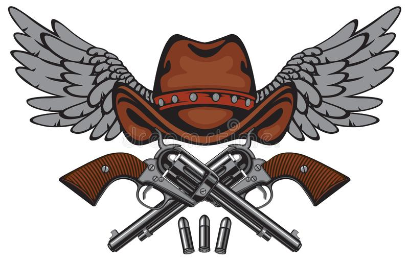 Banner with two old pistols, cowboy hat and wings stock illustration