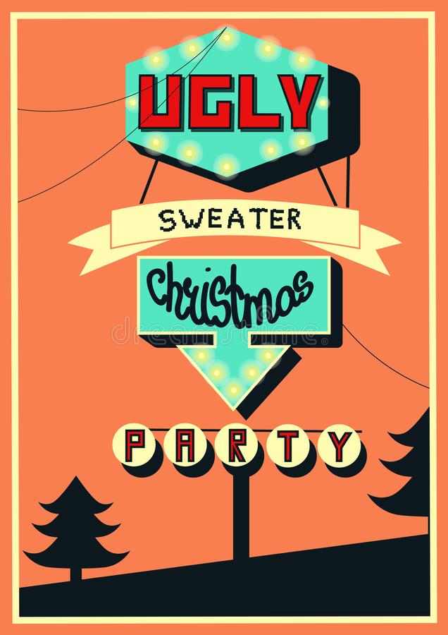 Banner for Ugly sweater Christmas party, hand drawn vector illustration perfomed in retro style. stock illustration