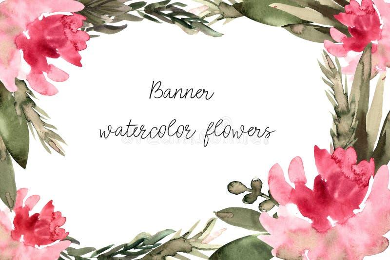 Banner, uitnodiging met bloemenwaterverf stock illustratie