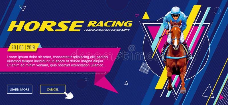 banner Universeel malplaatje voor een website met tekst, knopen Jockey op paard Paard Racing hippodrome racetrack sprong stock illustratie