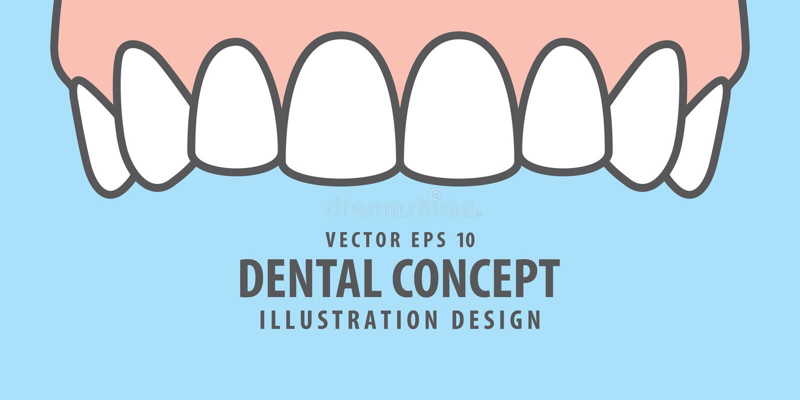 Banner Upper healthy teeth illustration vector on blue background. Dental concept. stock illustration