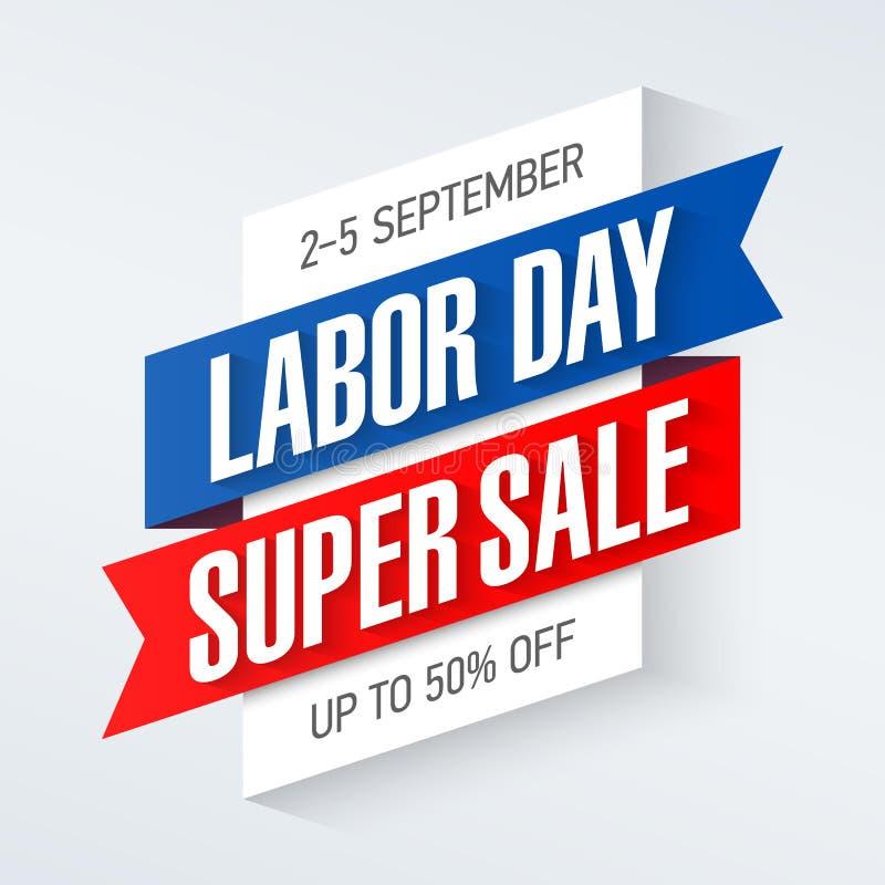 Banner van de Dag van de Arbeid de Super Verkoop stock illustratie