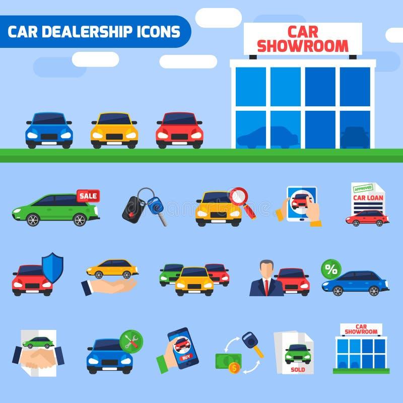 Banner van de de Pictogrammensamenstelling van het autohandel drijven de Vlakke royalty-vrije illustratie