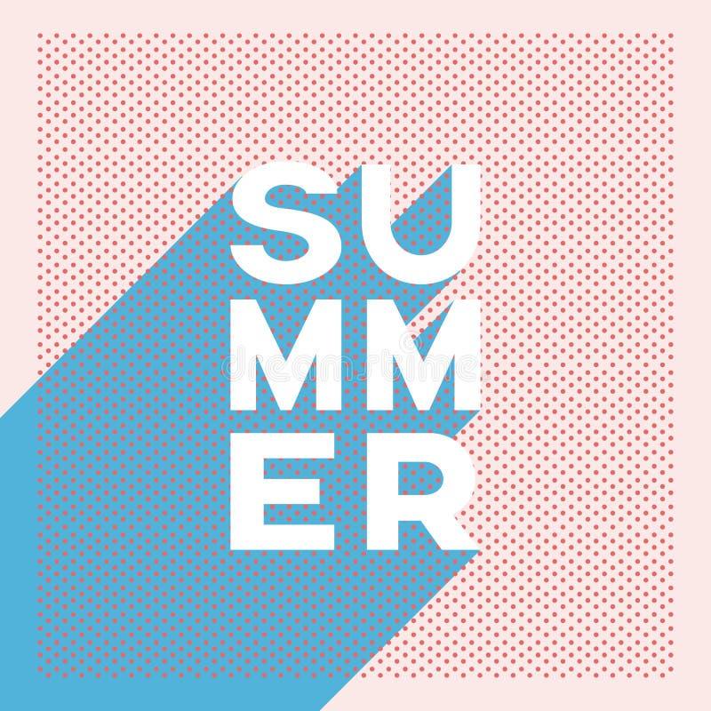Banner van de de zomer retro affiche met stip of halftone uitstekend vectorontwerp en lange schaduw creatieve typografie royalty-vrije illustratie