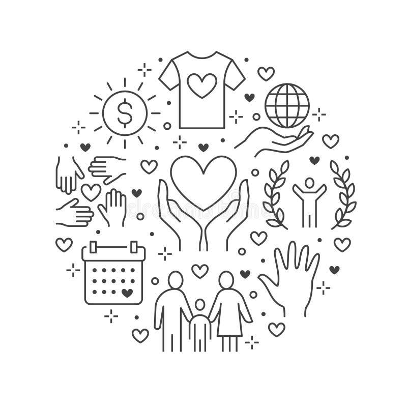 Banner van de liefdadigheids de vectorcirkel met vlakke lijnpictogrammen Schenking, organisatie die zonder winstbejag, NGO, hulpi vector illustratie