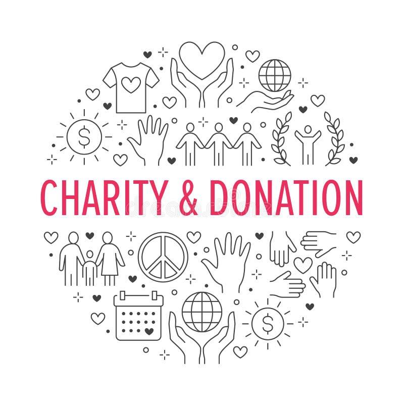 Banner van de liefdadigheids de vectorcirkel met vlakke lijnpictogrammen Schenking, organisatie die zonder winstbejag, NGO, hulpi royalty-vrije illustratie