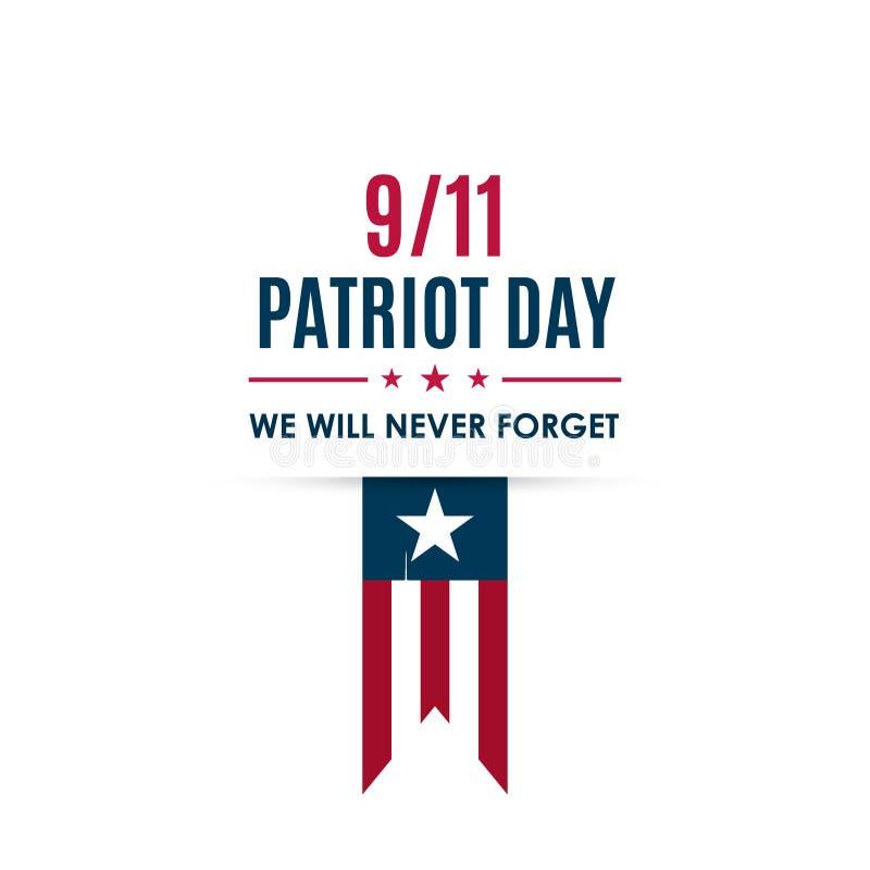 9/11 banner van de Patriotdag De kaart van de de Patriotdag van de V.S. vector illustratie