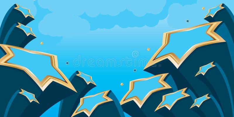 Banner van de ster de blauwe gouden hemel stock illustratie
