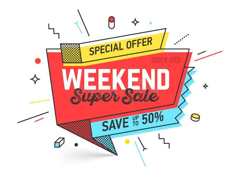 Banner van de weekend de Super Verkoop royalty-vrije illustratie
