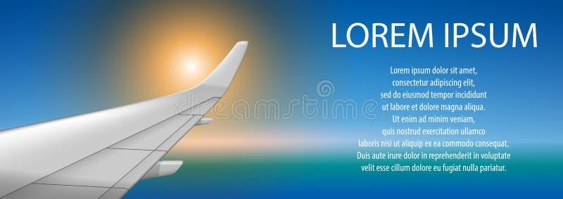 Banner van een vliegtuigvleugel op zonsondergang Brochure in toerismethema Het ontwerp van de het vliegtuigaffiche van de reisbur vector illustratie
