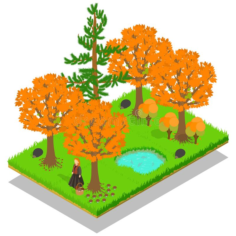 Banner van het de herfst de bosconcept, isometrische stijl royalty-vrije illustratie