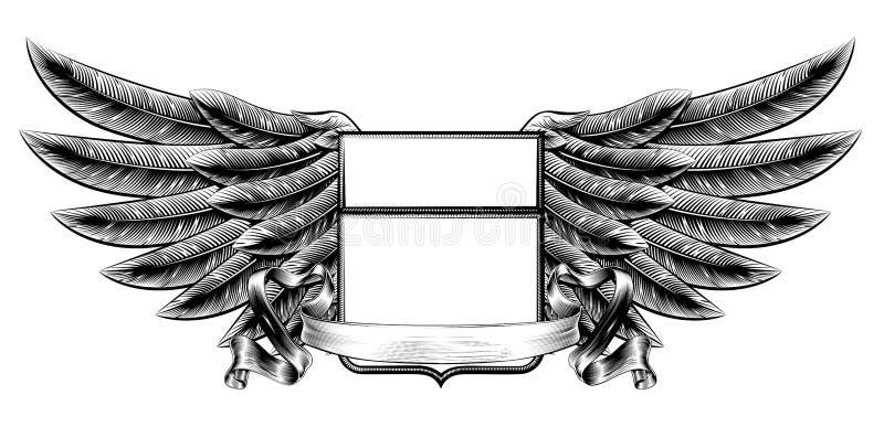 Banner van het houtdruk de gevleugelde schild royalty-vrije illustratie