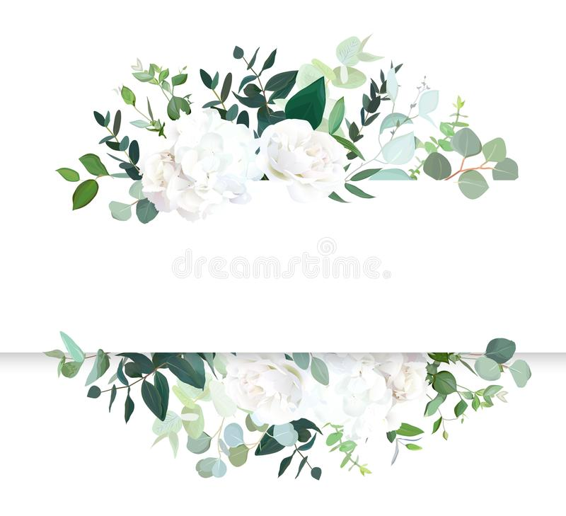 Banner van het huwelijks de bloemen horizontale vectorontwerp vector illustratie