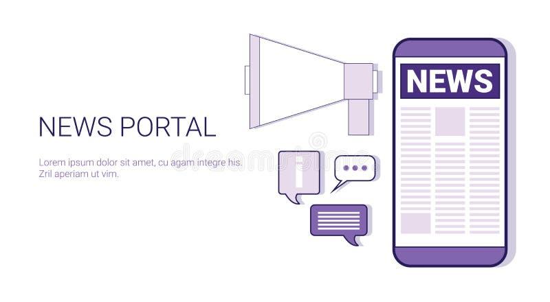Banner van het het Malplaatjeweb van het nieuws de Poortconcept met Exemplaarruimte vector illustratie