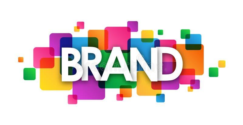 Banner van MERK de kleurrijke overlappende vierkanten stock illustratie
