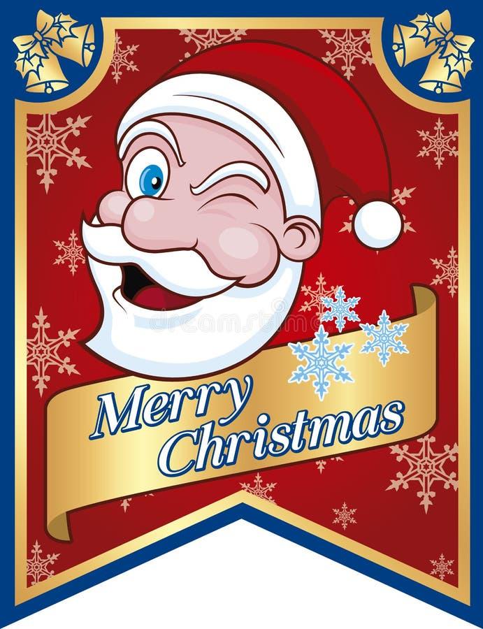Banner van Santa Claus-Merry Christmas royalty-vrije stock afbeelding