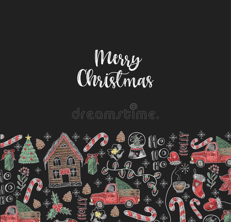 Banner van Vrolijke Kerstmis met elementen geschilderd kleurkrijtje op bord Vector stock illustratie