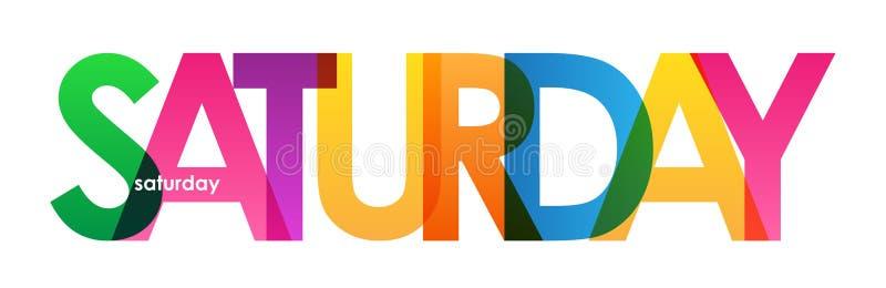 Banner van ZATERDAG de kleurrijke overlappende brieven stock illustratie