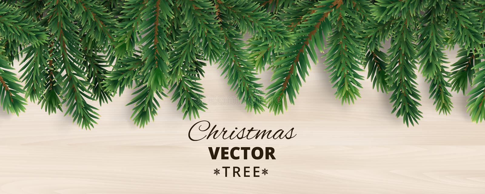 Banner with vector christmas tree branches on wooden background. Realistic fir-tree border, vector frame. Great for christmas cards, banners, flyers, party stock illustration