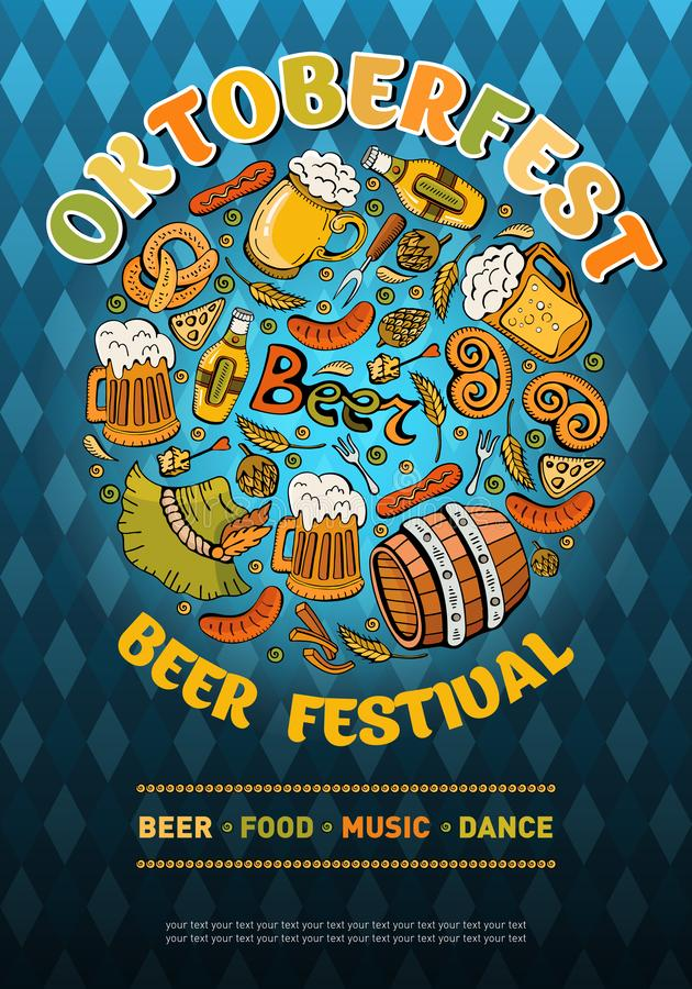Banner in vector for the festival Oktoberfest. German traditional beer festival. Lager Beer with pretzel, sausages, wheat and stock photo