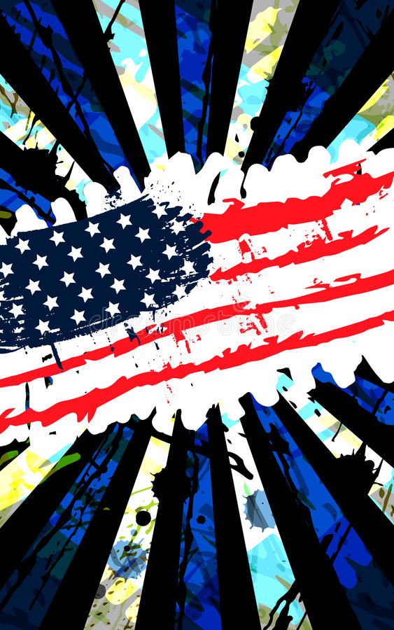 Banner Vertical grungy the US flag stock photos