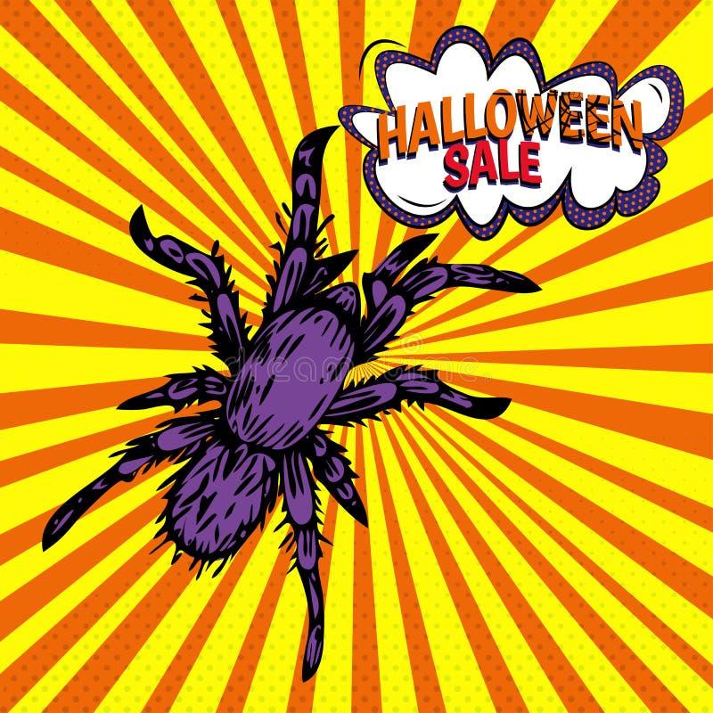 Banner vetorial com ícone de aranha roxa sobre fundo laranja amarelo com raios quadrinhos e pontos ilustração royalty free