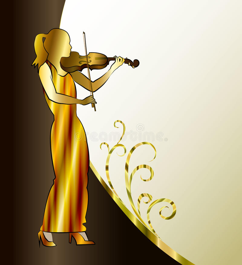 Banner with violinist. Playing classical violin royalty free illustration