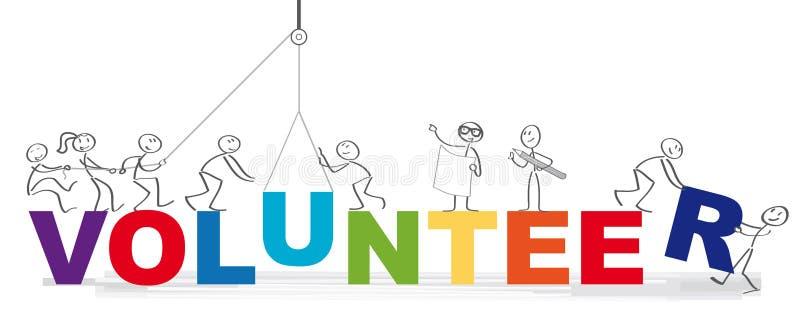 Banner of volunteer vector illustration concept. Volunteering team and the word volunteer vector illustration concept - Group of diversity people volunteer vector illustration