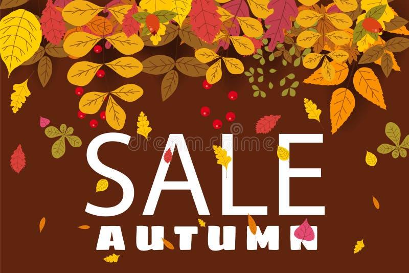 Banner voor Autumn Sale, achtergrond met dalende bladeren, geel, oranje, bruin, daling, het van letters voorzien, malplaatje voor stock illustratie