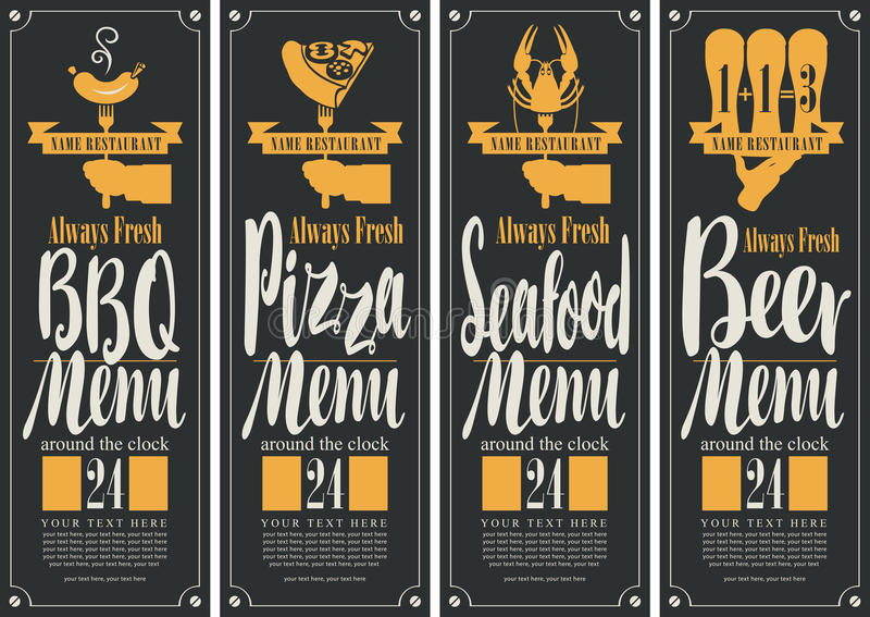 Banner voor B-B-Q menu, pizzamenu, zeevruchtenmenu, biermenu stock illustratie